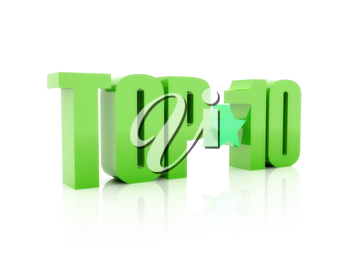 Top ten green word  isolated on white background. 3D illustration.