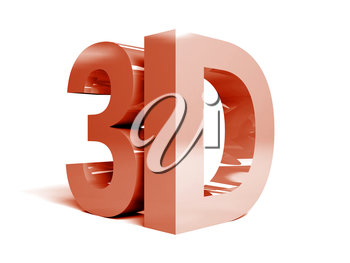 Word 3D on white background. Concept 3D illustration