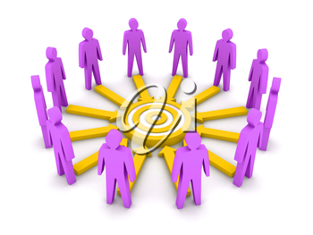 Group of 3D people working towards a common target. Concept illustration.
