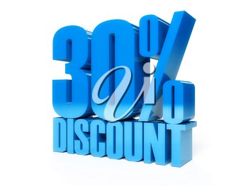 30 percent discount. Blue shiny text. Concept 3D illustration.