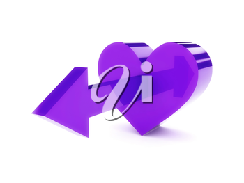 Big violet heart with arrow pointing forward. Concept 3D illustration.