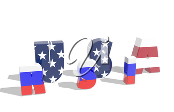 background relative to politic relation between russia and usa.3D rendering .russia and usa mixed words. two in one