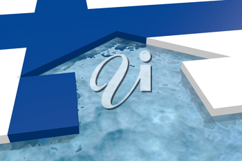 home icon in the water textured by Finland flag. 3D rendering