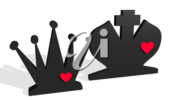 Chess figures. King and Queen. Family metaphor. Love theme. 3D rendering.