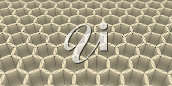 Perspective view on honeycomb . 3d rendering backdrop. Black grid with spherical points on verticles