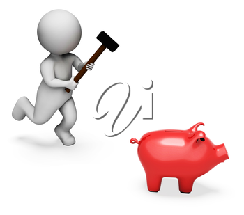 Character Piggybank Indicating Spending Word And Shopping 3d Rendering
