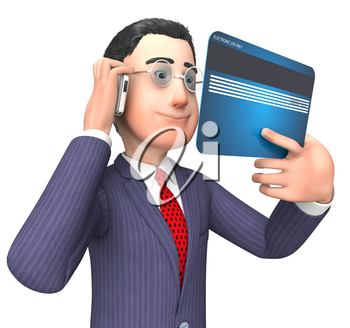 Credit Card Indicating Business Person And Illustration 3d Rendering