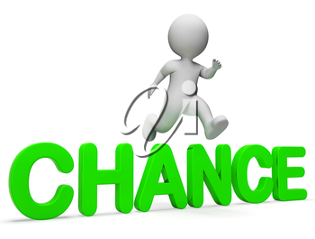 Chance Get Indicating Jump Betting And Illustration 3d Rendering