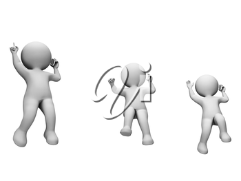 Jump Characters Showing Render Celebration And Celebrate 3d Rendering