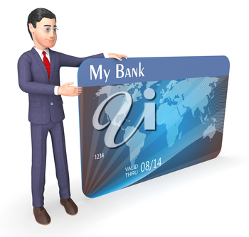 Debit Card Representing Business Person And Bought 3d Rendering
