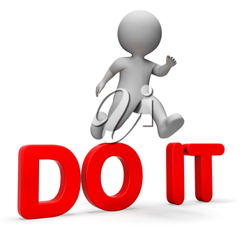 Do It Representing Achieving Motivating And Jump 3d Rendering
