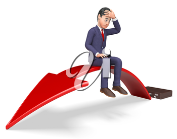 Arrow Businessman Meaning Lack Of Success And Financial Problem 3d Rendering
