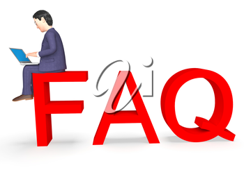 Faq Character Indicating Frequently Asked Questions And Business Person 3d Rendering