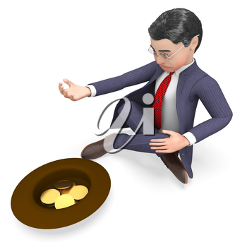Businessman Coins Representing Homeless Profit And Starvation 3d Rendering