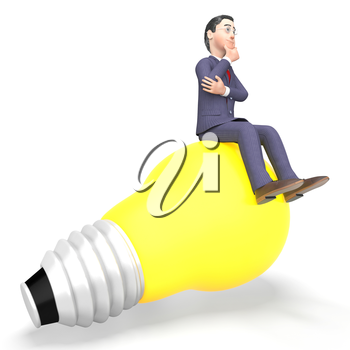 Idea Businessman Meaning Think About It And Power Source 3d Rendering