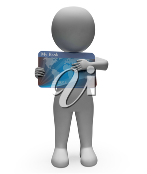 Credit Card Showing Debt Problem And Plastic 3d Rendering