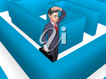 Maze Confused Showing Business Person And Choose 3d Rendering