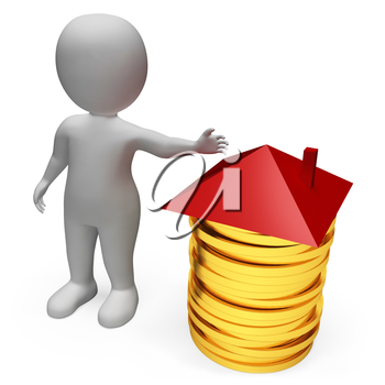 Character Coins Indicating Real Estate And Treasure 3d Rendering