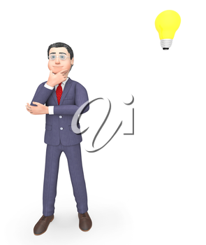 Thinking Businessman Representing Power Source And Render 3d Rendering