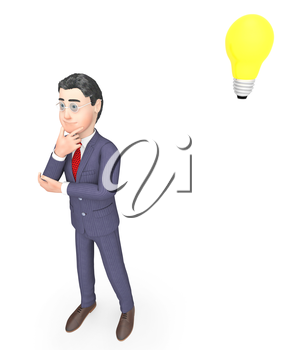 Thinking Businessman Indicating Light Bulb And Consider 3d Rendering