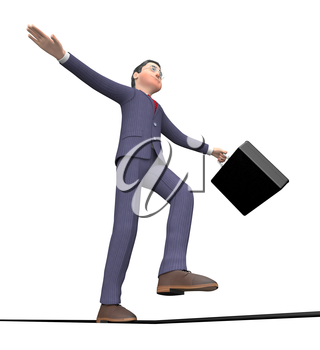 Businessman Balancing Showing High Line And Commercial 3d Rendering