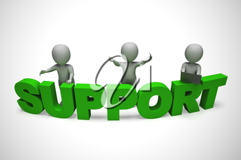 Customer support concept icon means assisting and helping customers. From a helpdesk or helpline - 3d illustration