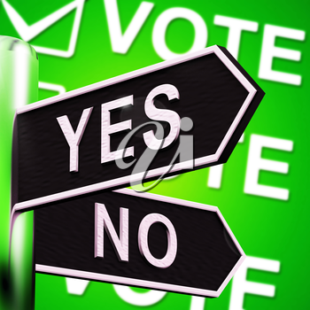 Yes No Signpost Shows Indecision Choosing 3d Illustration