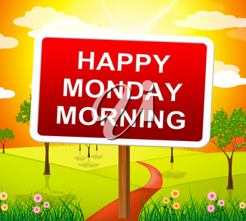 Happy Monday Blessings - Morning Motivation Quote Countryside - 3d Illustration