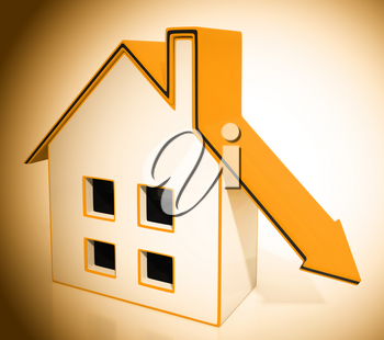 Downsize Home House Symbol Means Downsizing Property Due To Retirement Or Budget. Find A Tiny House Or Apartment - 3d Illustration
