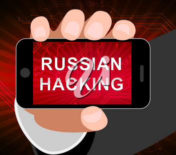Telephone Hacker Web Espionage Alert 3d Illustration Shows Russian Internet Server Breach. Cybersecurity Protection From Russian Hackers Against American Cellphones Or Smartphones.