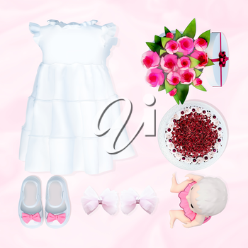 Baby dress and accessories on white background. Birthday.