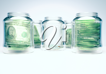 Glass flasks with money and glass flask with three banknotes with coins - wealth and poverty concept.