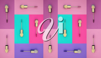 Collection of a mascara shapes on color background. Each one is shot separately.
