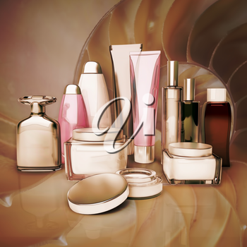 Daily, beauty care cosmetic. Face cream, eye cream, serum and lip balm, skin care.