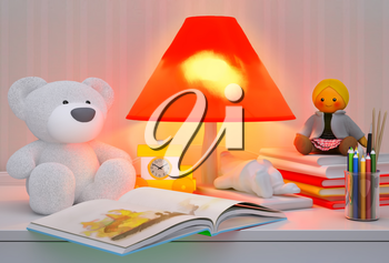 Children's toys, books, colored pencils, alarm clock, the lamp are located on a table.