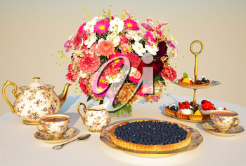 Meal, tea, pie, Cakes, teapot, cups, flowers, a table, a cloth, Cream.