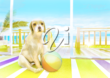The puppy with the ball on the carpet on the background of the sea.