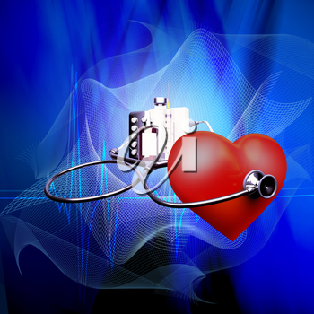 Stethoscope on heart, and also tablets and injections on a blue background.