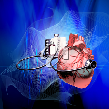 Stethoscope on heart, and also tablets and injections on a blue background. Medical background - cardiology.