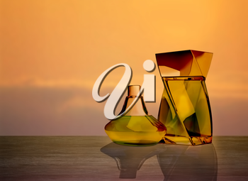 Two perfume bottles with reflections.