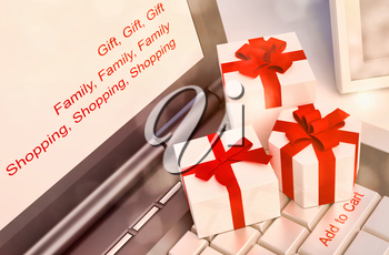 Gift concepts or online shopping, with a message on keyboard enter key.
