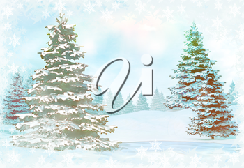 Winter background with snowy fir trees.