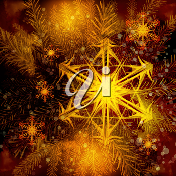Christmas Tree and fiery snowflakes, abstract background.