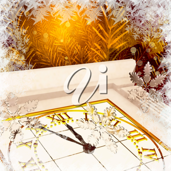 Christmas Tree, clock and snowflakes, fiery abstract background.