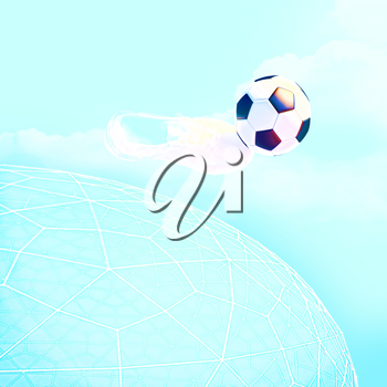 Concept or conceptual 3D soccer ball in with a blue sky background metaphor to sport, goal, competition, play, team, fun, stadium, meadow, activity soccerball.