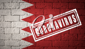 Flag of the Bahrain with original proportions. stamped of Coronavirus. brick wall texture. Corona virus concept. On the verge of a COVID-19 or 2019-nCoV Pandemic.