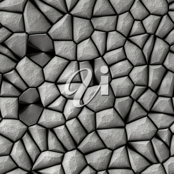 Abstract surface made from grey cobble stones.