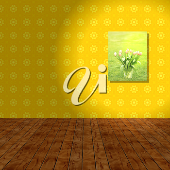 Empty room with yellow wall, wooden background and hook picture. Illustration.