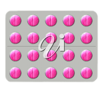 Illustration of a pink antibiotic pills in a bubbly blister pack isolated on a white background.
