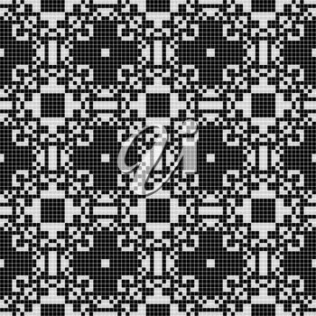 White lace curtain abstract seamless pattern on a black background.